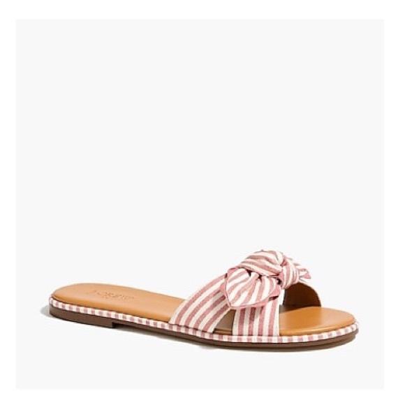 J. Crew Shoes - J. CREW WOMEN'S - Striped Bow Slide Sandal - Sz 8